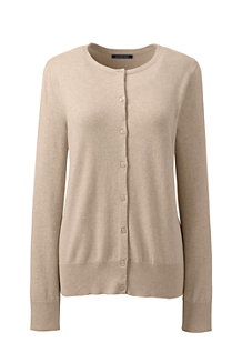 Women's Plain Fine Gauge Supima® Crew Neck Cardigan