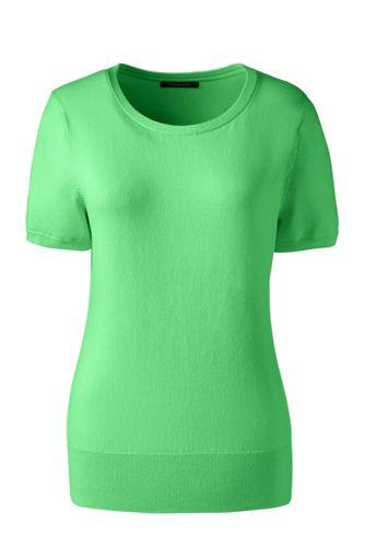 Women's Regular Plain Short Sleeve Jewelneck Jumper