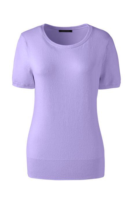 Women's Plus Size Short Sleeve Supima Sweater