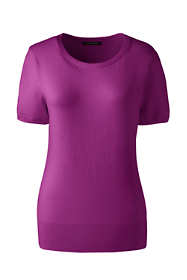 Women's Petite Short Sleeve Supima Sweater