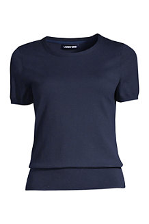 Women's  Plain Short Sleeve Jewelneck Jumper