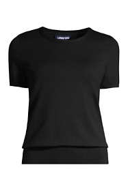 Women's Petite Supima Cotton Short Sleeve Crewneck Sweater