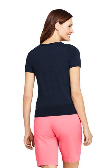 Women's Petite Supima Cotton Short Sleeve Crewneck Sweater