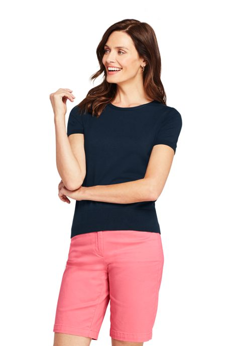 Women's Tall Supima Cotton Short Sleeve Crewneck Sweater