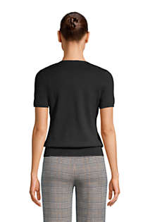 Women's Supima Cotton Short Sleeve Crewneck Sweater, Back
