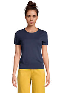 Women's Supima Cotton Short Sleeve Crewneck Sweater, Front