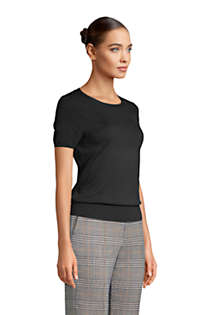 Women's Petite Supima Cotton Short Sleeve Crewneck Sweater, Unknown