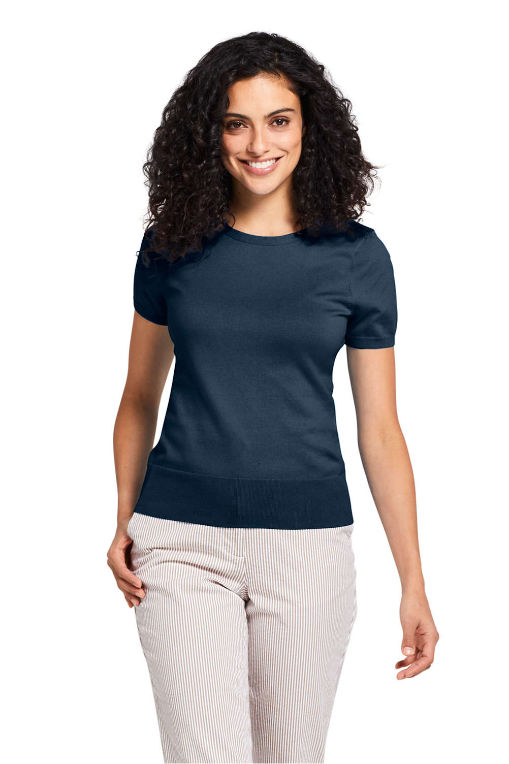 16fe8584275 Women's Supima Cotton Short Sleeve Sweater from Lands' End