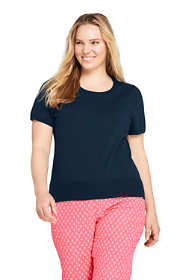 Women's Plus Size Supima Cotton Short Sleeve Crewneck Sweater