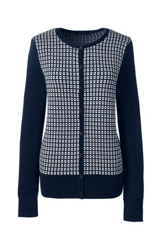 Women's Regular Fine Gauge Supima Jacquard Crew Neck Cardigan