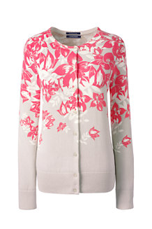 Women's Fine Gauge Supima® Patterned Crew Neck Cardigan