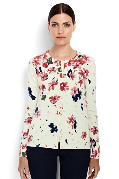 Women's Petite Supima Print Cardigan Sweater