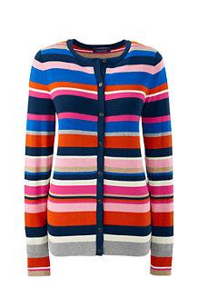 Women's Fine Gauge Supima® Striped Crew Neck Cardigan