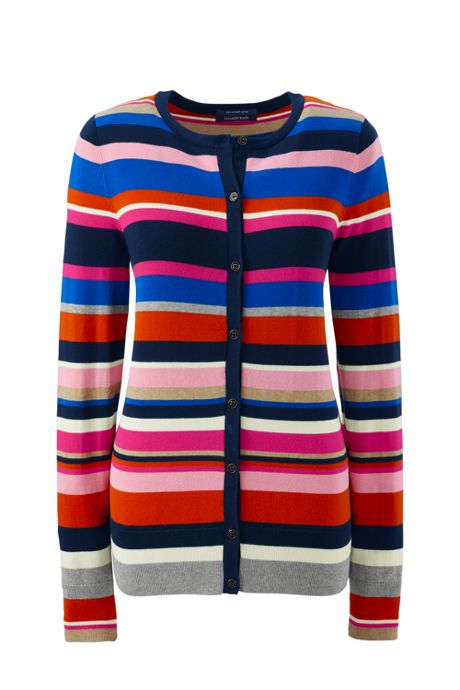 Women's Petite Supima Stripe Cardigan Sweater