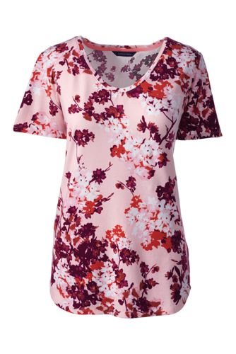 Gemustertes Baumwoll/Viskose-Shirt mit V-Ausschnitt