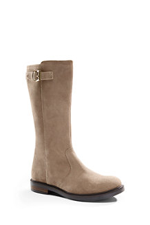 Girls' Suede Buckle Boots