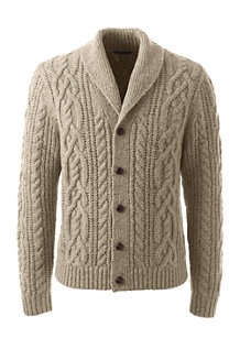 Men's Shawl Collar Cable Cardigan