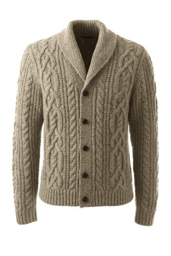 Men's Regular Shawl Collar Cable Cardigan