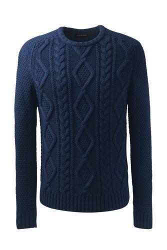 Zopfmuster-Pullover mit Merinowolle für Herren