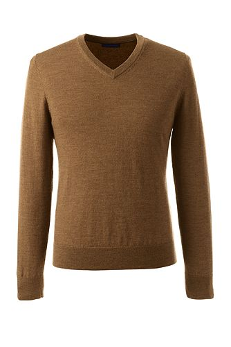 Classic Merino V-neck Sweater 475157: Toffee Heather