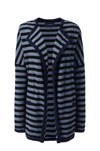 Women's Striped Open Front Textured Cardigan