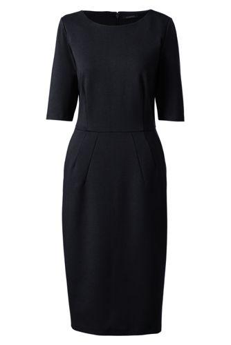 La Robe Ponté Stretch Manches aux Coudes, Femme Stature Standard