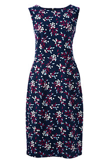 Women's Print Ponte Jersey Sleeveless Darted Dress
