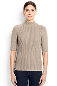 Women's Elbow Sleeve Rib Mock Sweater