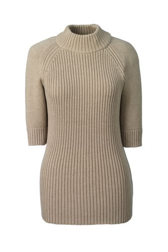 Women's Regular Ribbed Elbow Sleeve Polo Neck Jumper
