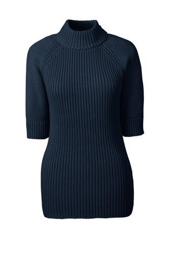 Rippstrick-Pullover mit Stehkragen in Petite-Größe