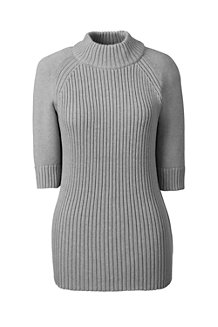 Women's Ribbed Elbow Sleeve Polo Neck Jumper