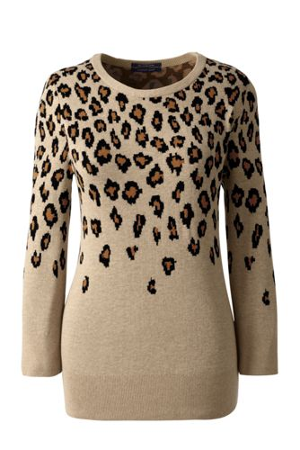 Women's Regular Three-quarter Sleeve Fine Gauge Crew Neck Jumper