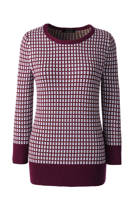 Women's Plus Size Supima 3/4 Sleeve Jacquard Sweater