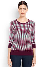 Women's Tall Supima 3/4 Sleeve Jacquard Sweater