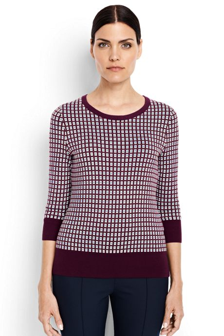 Women's Supima 3/4 Sleeve Jacquard Sweater