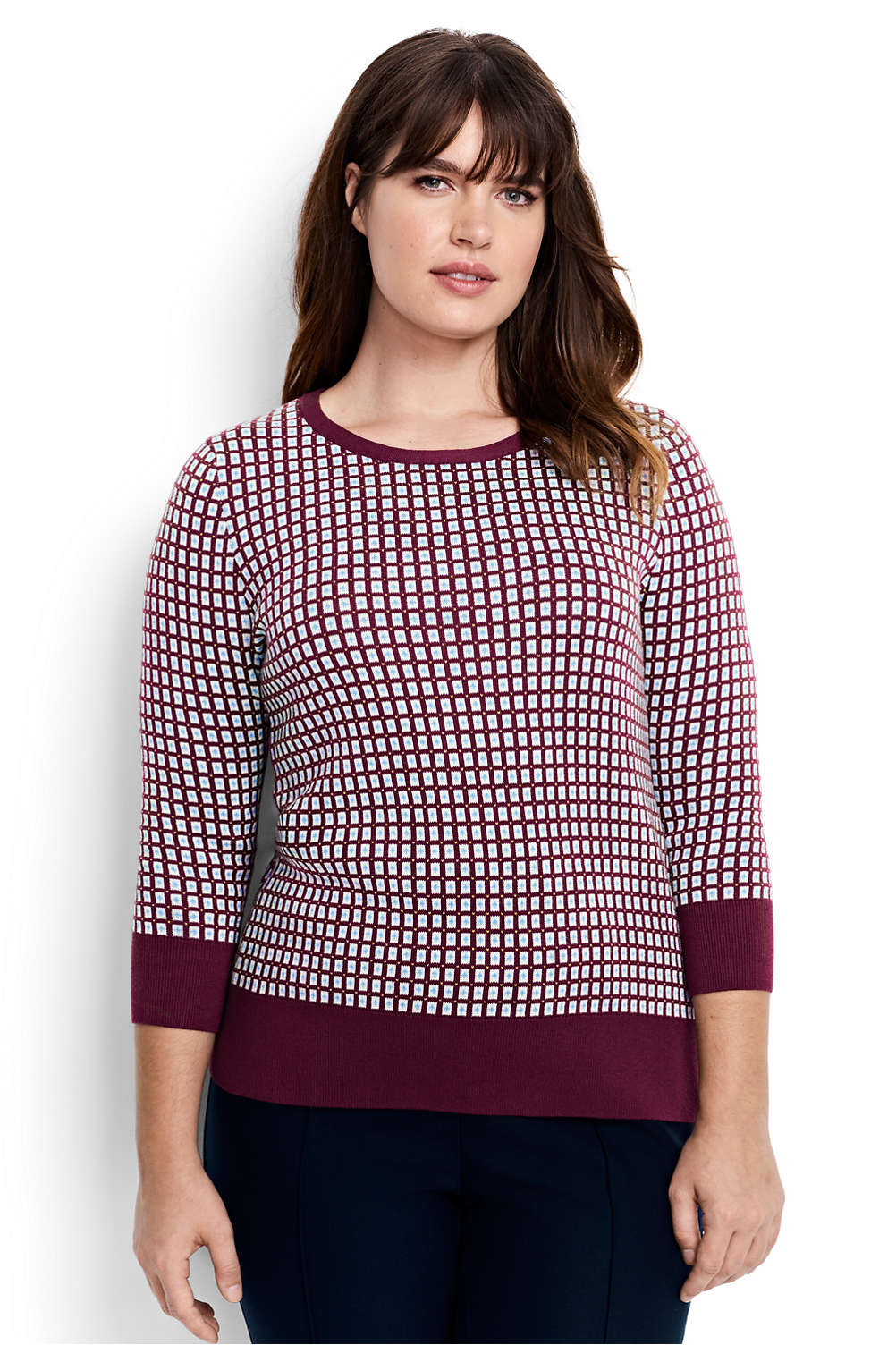 42fb84baff Women s Supima 3 4 Sleeve Jacquard Sweater from Lands  End