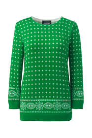 Women's Supima 3/4 Sleeve Print Sweater