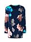 レディス・スーピマ・ファインゲージ・オープンクルーネック・セーター/柄/七分袖
