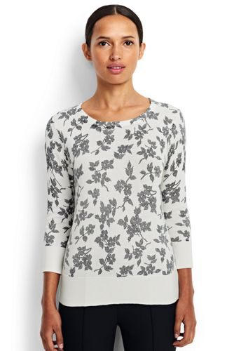 Women's Regular Patterned Fine Gauge Supima Crew Neck Jumper