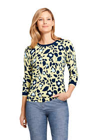 Women's Petite Supima 3/4 Sleeve Print Sweater