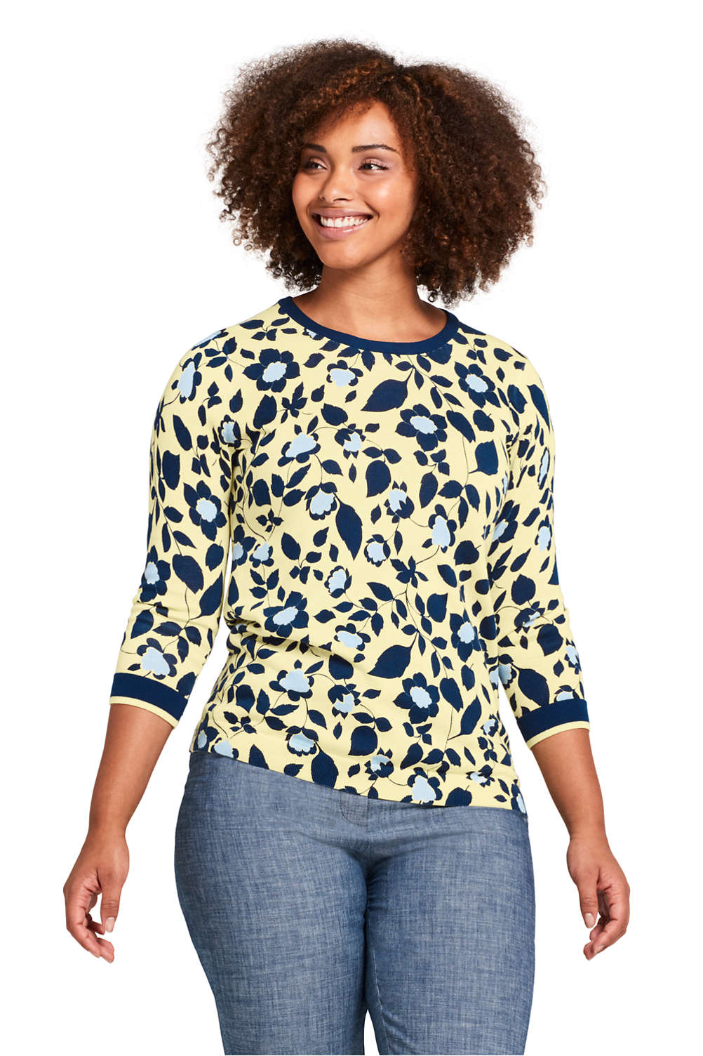 0cbfe13f51f Women s Plus Size Supima 3 4 Sleeve Print Sweater from Lands  End