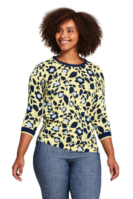 Women's Plus Size Supima 3/4 Sleeve Print Sweater