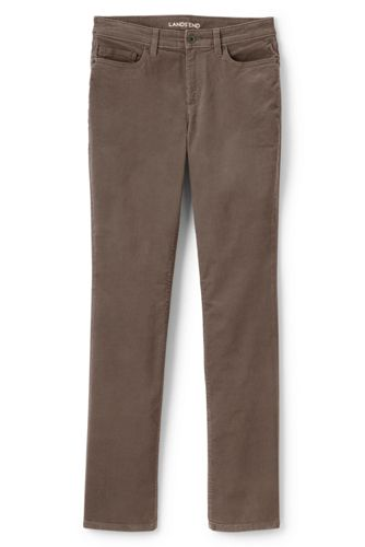 Women Petite Mid Rise Cord Slim Leg Trousers - 14/16 - BLUE Lands End oOKnTj