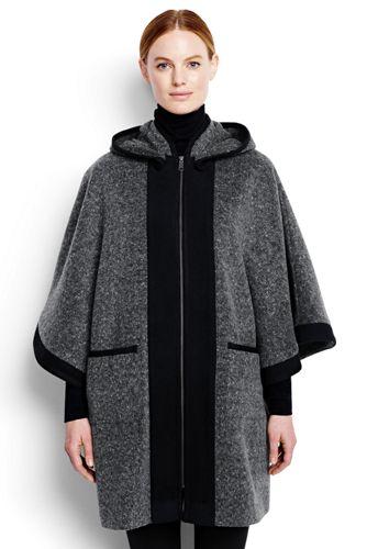 Women's Regular Wool Blend Hooded Cape