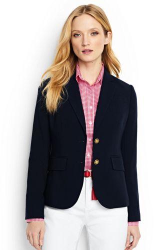 Le Blazer Bleu Marine en Laine, Femme Stature Standard