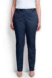 Women's Plus Size Petite Mid Rise Straight Leg Chino Pants
