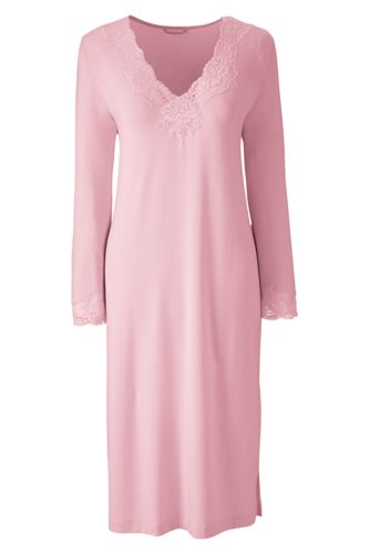 Women's Regular Plain Modal Lace V-neck Nightgown
