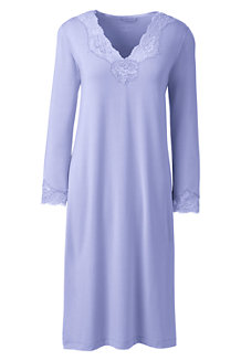 Women's Plain Modal Lace V-neck Nightgown