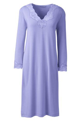 Women's Regular Plain Three-quarter sleeve Modal Lace V-neck Nightgown