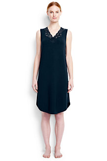 Women's Plain Modal Lace V-neck Sleeveless Nightgown